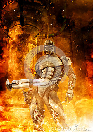 Free Futuristic Soldier And Fire Royalty Free Stock Photo - 81200495