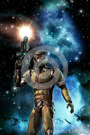 Free Futuristic Soldier And Starfield With Nebula And Sun Stock Images - 42853374