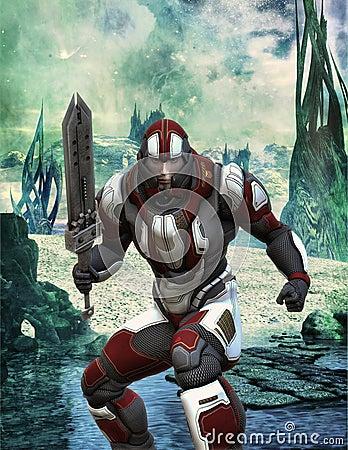 Futuristic soldier in armor