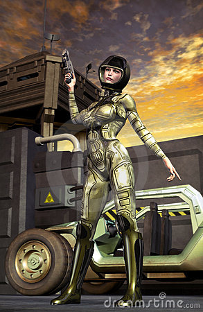 Futuristic soldier girl