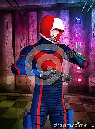 Futuristic soldier manga anime hero