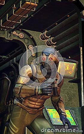 Futuristic soldier secret spy