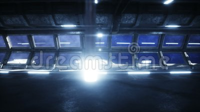 Futuristic space corridor, tunnel. flight view of the earth. Cinematic 4k animation. stock video