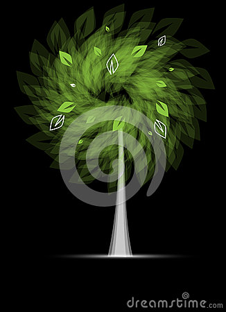 Futuristic stylized tree with leafage