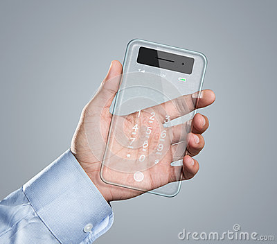 Futuristic transparent smart phone in hand