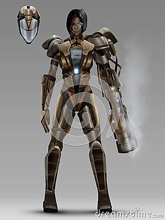 Free Futuristic Woman Cyber Armor Costume Stock Photography - 43650822