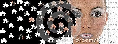 Futuristic Woman Puzzle Broken