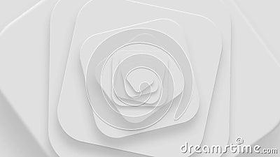 Futuristische bloem, close-up van het spinnen van witte vierkanten, lijn stock footage
