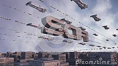Futuristischer Stadt SCIFI