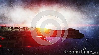 Futurystyczny astronautyczny statek w przestrzeni Ziemski planety wonderfull widok realistyczny metalu nawierzchniowy statek, prz zdjęcie wideo