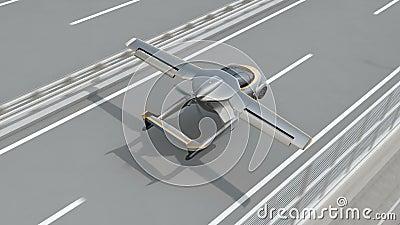 Futurystyczny latający samochodowy lądowanie na autostradzie zbiory