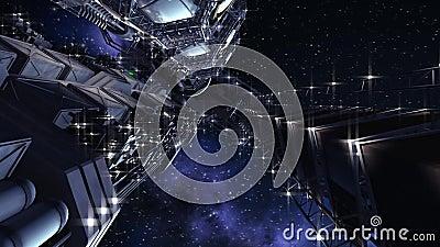 Futurystyczny międzygwiazdowy statek kosmiczny