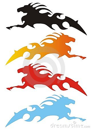 Fyra häststylizationvariants