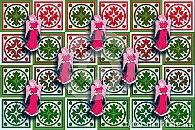 Gåvaaskomslag som är rött & som är grönt med flottörhus änglar