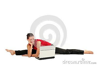 Göra den delade kvinnan för bärbar dator