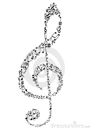 a G clef with music notes