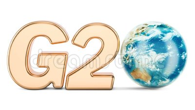 G20 concept. Golden inscription with rotating Earth Globe, 3D rendering. Isolated on white background stock illustration