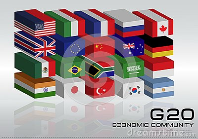 G20 Country Flags With Dotted World Map Or Flags Of The World