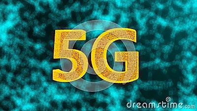 5G el contexto que brilla intensamente creativo, éste es el concepto móvil de Internet, 3d rendir libre illustration