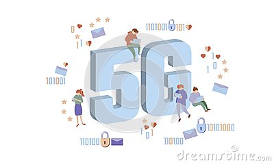 5G new wireless internet wifi connection. Small people large big symbol letters. Gadgets device isometric blue 3d flat Vector Illustration
