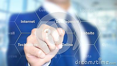 5G sieć, mężczyzna Pracuje na Holograficznym interfejsie, projekta ekran zbiory