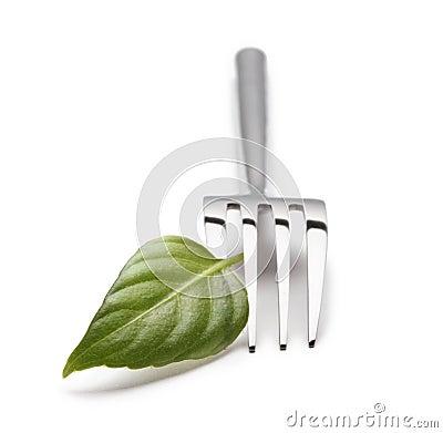 Gabel mit grünem Blatt
