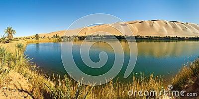 Gaberoun Lake - Desert Oasis, Sahara, Libya
