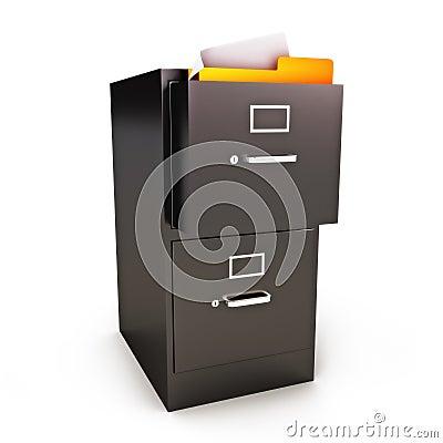 Gabinete de arquivo com arquivos