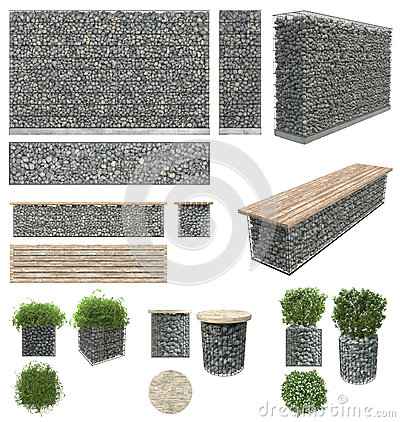 Free Gabion - Stones In Wire Mesh. Wall, Bench, Flower Pots With Plants Of The Rocks And Metal Grates. Isolated On White Background. Fr Stock Photography - 85410272