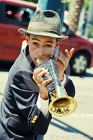Gabriel Angelo, Trumpet Player, Street Performer Editorial Stock Photo