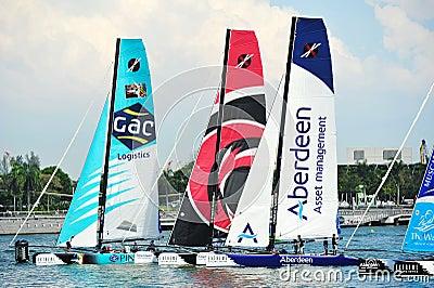 GAC Pindar, Alinghi and Team Aberdeen Singapore racing at Extreme Sailing Series Singapore 2013 Editorial Image