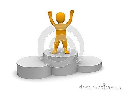 Gagnant célébrant sur le podiume