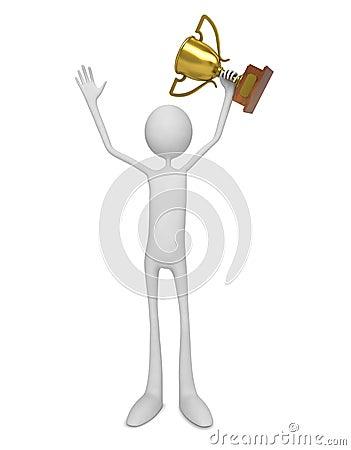 Gagnant. Homme célébrant avec le trophée.