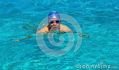 Gal swimming in a pool