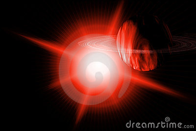 Galactic Flare Red Planet With Rings