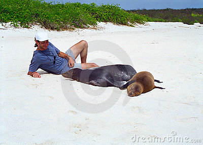 Galapagos sea lion and tourist