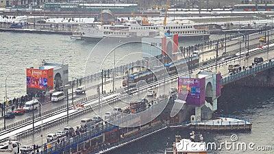 Galata Bridge in Winter Editorial Stock Image