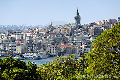 Galata Tower and district Beyoglu in Istanbul