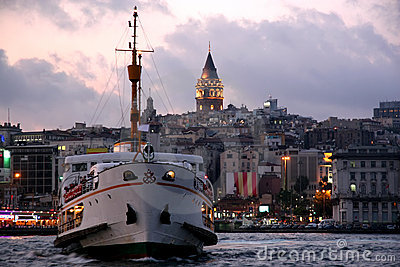Galata Tower and steamboat