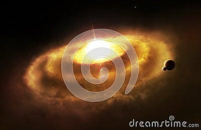Galaxy ring nebula, space cataclysm Cartoon Illustration