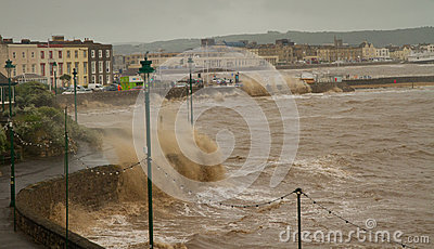 The gales in Weston-super-Mare on 8th June 2012 Editorial Photography