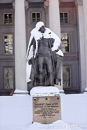 Gallatin Statue Snow US Treasury Washington DC