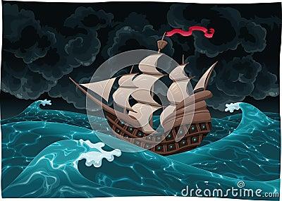 Galleon nel mare con la tempesta.