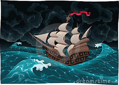Galleon in the sea with storm.