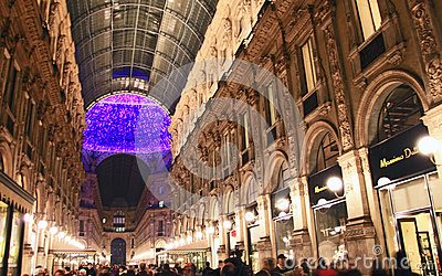 Galleria Vittorio Emanuele II during Christmas holidays Editorial Stock Photo
