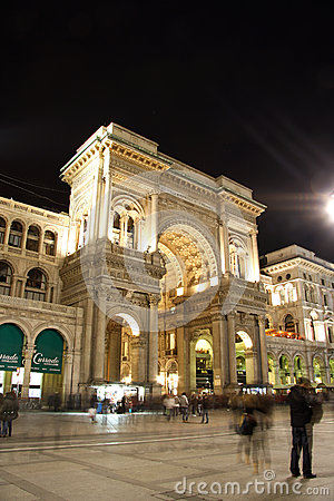 Galleria Vittorio Emanuele II in Milan at night Editorial Stock Photo