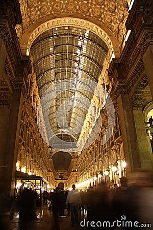 Galleria Vittorio Emanuele II in Milan at night Editorial Image