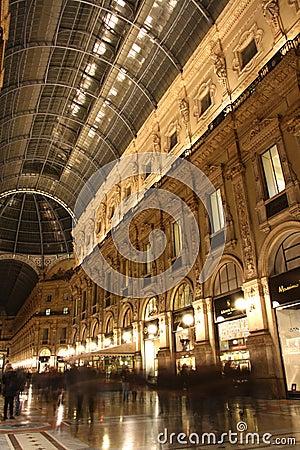 Galleria Vittorio Emanuele II in Milan at night Editorial Stock Image