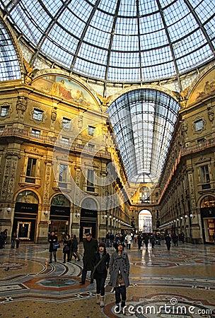 Galleria Vittorio Emanuele shopping Center in Milan Editorial Stock Image