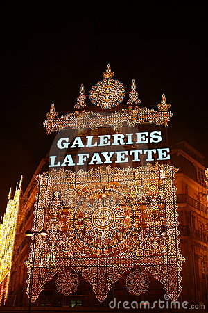 Galleries Lafayette at Christmas time Editorial Stock Image